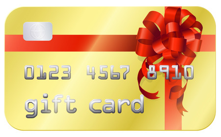 A credit card style gift card illustration with a red bow or ribbon Vector