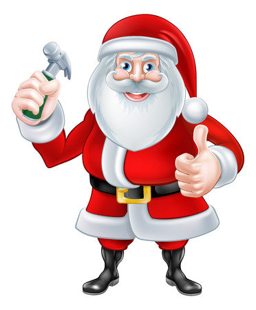 A Christmas cartoon illustration of Santa Claus holding a hammer and giving a thumbs up Vector