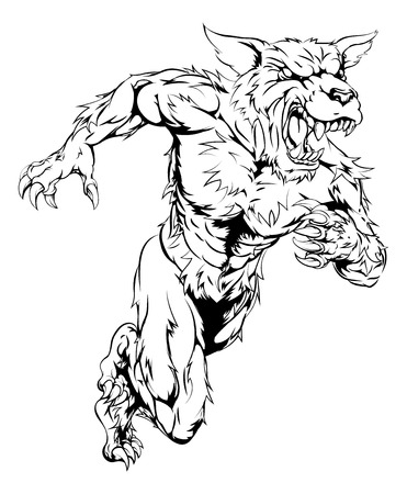 snarling: An illustration of a sprinting running wolf or werewolf character, great as a sports or athletics mascot