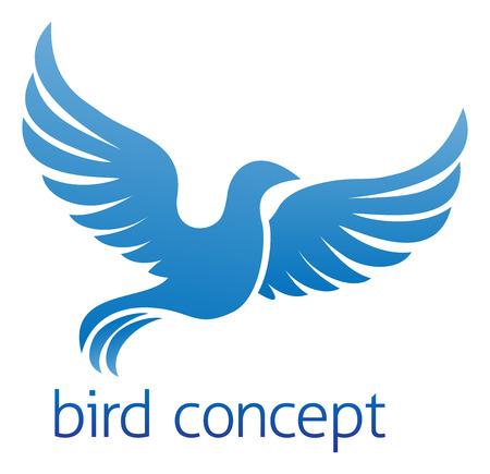 peace graphics: A flying blue bird or dove conceptual design