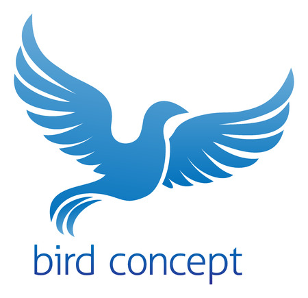 palomas volando: Un pájaro azul volando o el diseño conceptual paloma