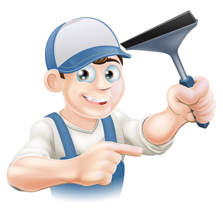 A happy Window Cleaner holding a Squeegee in his hand and pointing Vector