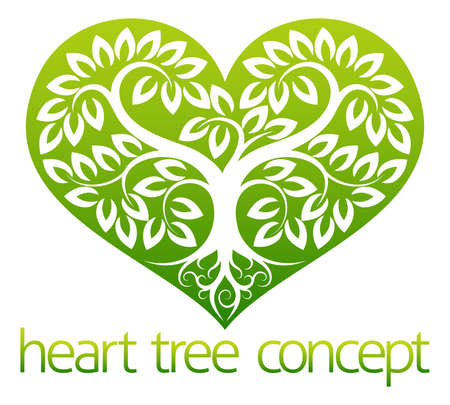 arbol con raices: Un ejemplo abstracto de un árbol que crece en la forma de un icono de concepto de diseño del símbolo del corazón Vectores
