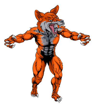 An illustration of a fox animal sports mascot cartoon character Vector