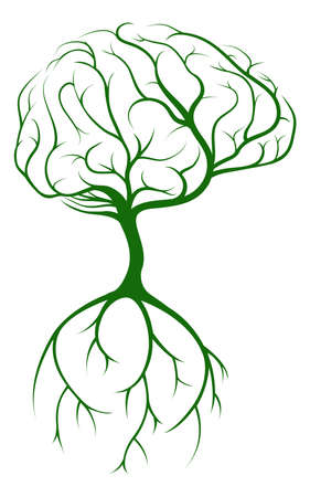 Brain tree concept of a tree growing in the shape of a human brain. Could be a concept for ideas or inspiration Ilustracja