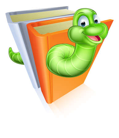 bookworm: A cartoon bookworm concept of a book worm character eating through some books