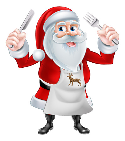 A Christmas cartoon illustration of Santa Claus holding a knife and fork and wearing an apron Illustration