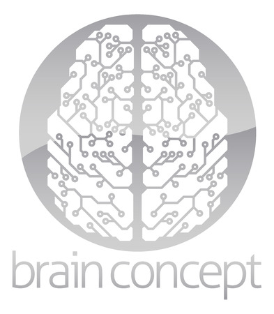 neuroscience: An abstract illustration of an electronic brain, ai artificial intelligence circle concept design Illustration