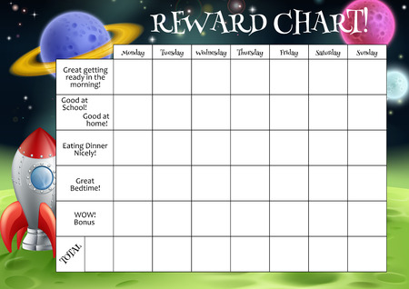 parent and child: A childs reward or chore chart with spaces for stickers or stars
