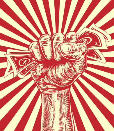protest poster: An original design of a fist holding money in a vintage propaganda poster wood cut style