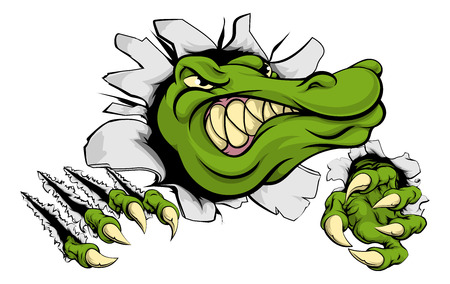 A cartoon alligator or crocodile smashing through a wall with claws and head Illustration