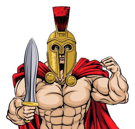 cascos romanos: Una ilustración de una media de aspecto rudo gladiador, griego antiguo, troyano o guerrero o gladiador romano que llevaba un casco y la celebración de una espada