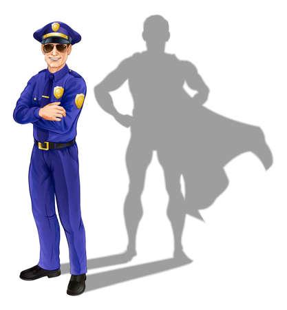 gorra policía: Concepto de policía héroe. Una ilustración conceptual de un policía de pie con su sombra en la forma de un superhéroe