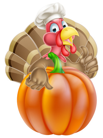 Cartoon thanksgiving turkey chef giving a thumbs up and wearing chef hat behind a pumpkin Vector