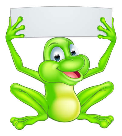 An illustration of a cute cartoon frog mascot character holding up a sign Illustration