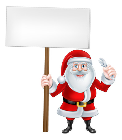 spaner: A Christmas cartoon illustration of Santa Claus with sign board and wrench