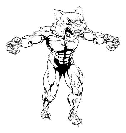 An illustration of a Wildcat scary sports mascot with claws out