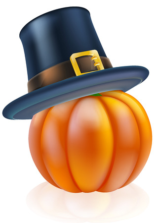 topped: A thanksgiving pumpkin wearing a pilgrim or puritan flat topped hat