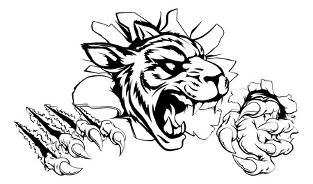 slashing: A scary tiger mascot ripping through the background with sharp claws Illustration