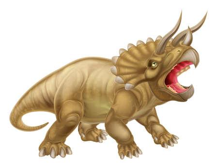 triceratops: A triceratops three horned dinosaur illustration