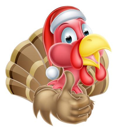thumbup: Cartoon Christmas turkey mascot giving a thumbs up and wearing a Christmas Santa hat