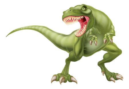 dinosaurio caricatura: Una ilustración de una media buscando tiranosaurios rex t rex