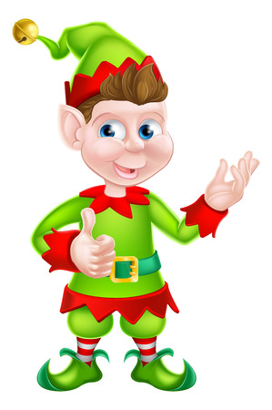 santa s elf: Happy cartoon Christmas Elf or one of Santa s Christmas helpers Illustration