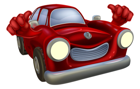 Cartoon red classic car character giving a thumbs up Vector