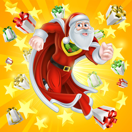 chrismas background: Cartoon Santa Claus Christmas superhero character