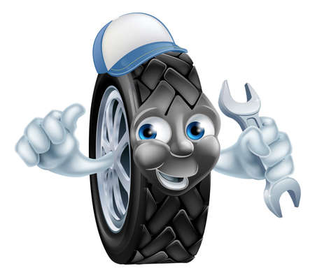 mecanic: Tyre mechanic cartoon mascot wearing a cap and holding a spanner Illustration