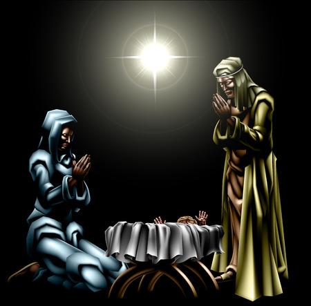 baby angel: Presepe di Gesù bambino sotto la stella nella mangiatoia con Maria e Giuseppe in