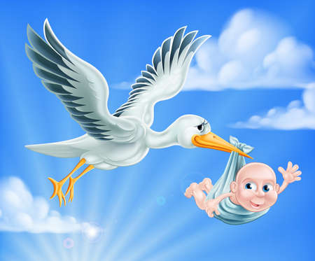 stork delivering a baby: An illustration of a cartoon stork flying through the sky delivering a newborn baby
