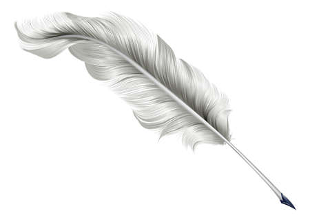 pen: An illustration of a classic antique feather quill pen