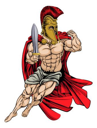 roman soldier: An illustration of a muscular strong Spartan Warrior