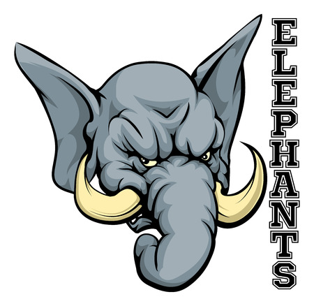 elephant angry: Cartoon elephant sports team mascot with the text Elephants