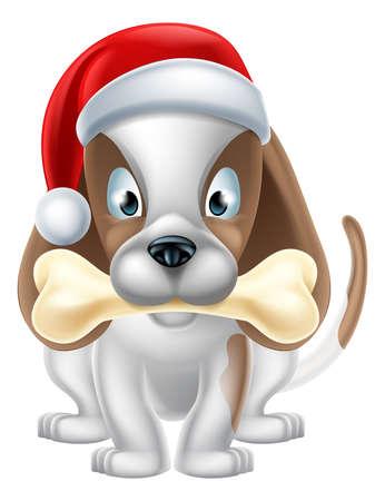 weihnachtsmann lustig: Karikatur-Welpen-Hund trägt ein Santa Hut und halten einen Knochen Illustration