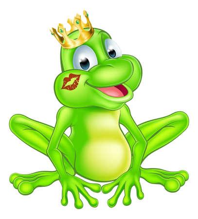 principe rana: Una ilustraci�n de una rana pr�ncipe lindo de la historieta