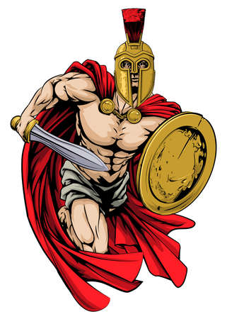 sword: An illustration of a warrior character or sports mascot  in a trojan or Spartan