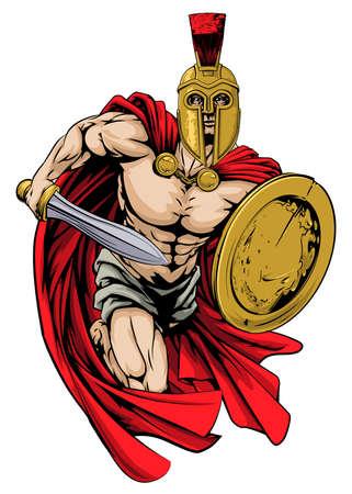 Eine Abbildung eines Kriegers Charakter oder Sport-Maskottchen in ein Trojaner oder Spartan Illustration