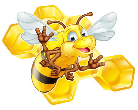 funny animals: An illustration of a cute cartoon bee mascot character in front of a honeycomb