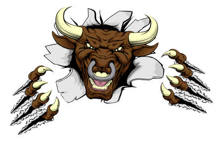 A mean looking bull mascot character breaking out through a wall Vector