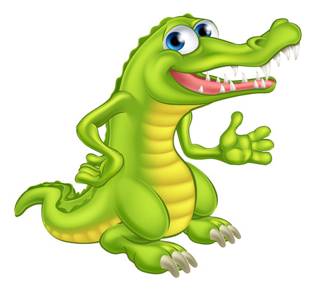 An illustration of a cute cartoon crocodile or alligator