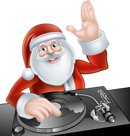 An illustration of cute cartoon Santa Claus party DJ at the decks on Vector