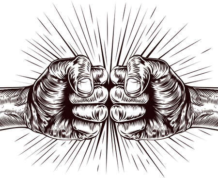 clenched: An original illustration of fists punching in a vintage wood cut style
