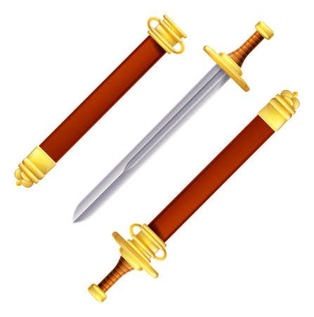 scheide: Ein Beispiel für ein Schwert in und aus der Scheide