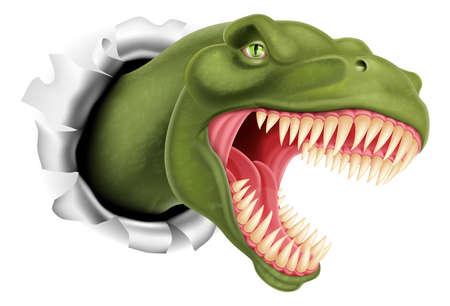 dinosaurio caricatura: Un ejemplo de un T Rex, Tyrannosaurus Rex dinosaurio que rasga a través de una pared