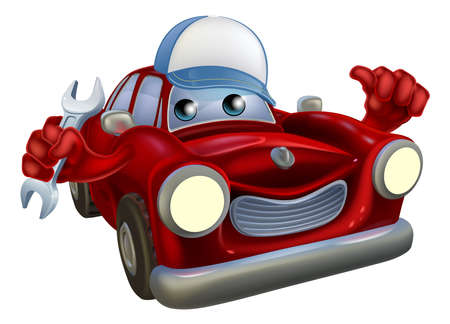 automotive repair: A drawing of a red cartoon car mascot wearing a baseball hat and holding a wrech while giving a thumbs up.
