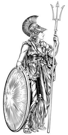 diosa griega: Una ilustración de la mitología griega la diosa Atenea sosteniendo una lanza tridente y escudo