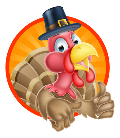 thumbs: Thanksgiving turkey mascot giving a thumbs up and wearing a pilgrim hat