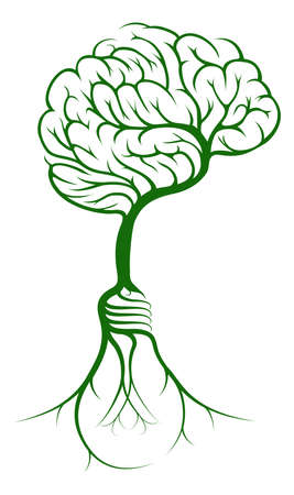 A brain shaped tree growing from lightbulb shaped roots Vector